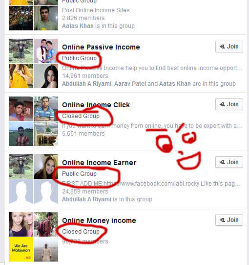 How to find facebook open or closed group list